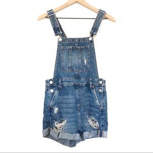 H&M | Distressed Medium Wash Overall Shorts